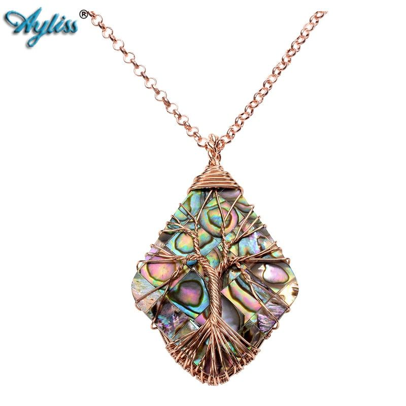 "Ayliss 1pc 2017 Natural Abalone Shell Tree of Life Charm Pendant Necklace with Chain 24"" Handmade Copper Wire Wrapped Jewelry"