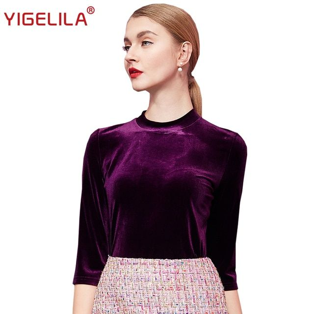 YIGELILA 7297 Latest New Elegant O-neck Half Sleeve Fashion Women Autumn Winter Velvet Solid Shirt Blouse Top