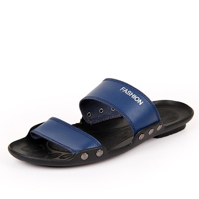 2016 Summer Style Men Genuine Leather Slides Sandals Shoes Flat Sandals Male Slipper Sandals Soft Comfortable Slides 38 43