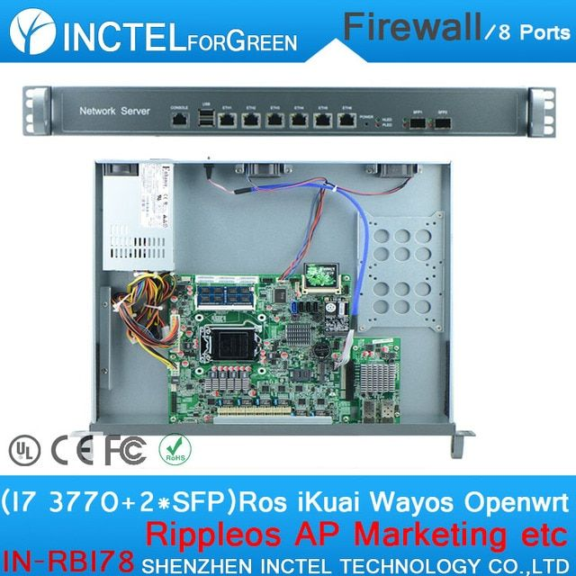 6 * 82574L 2 Groups Bypass 2 * 82580DB Fiber ROS 8 Gigabit Industrial Network Server with i7 3770 CPU