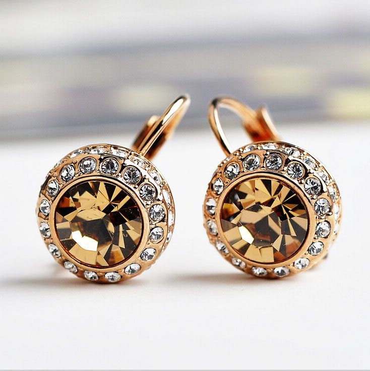 Italina Brand    With Stellux  Austrian Moon River Crystal Stud Earrings For Women Fashion Jewelry