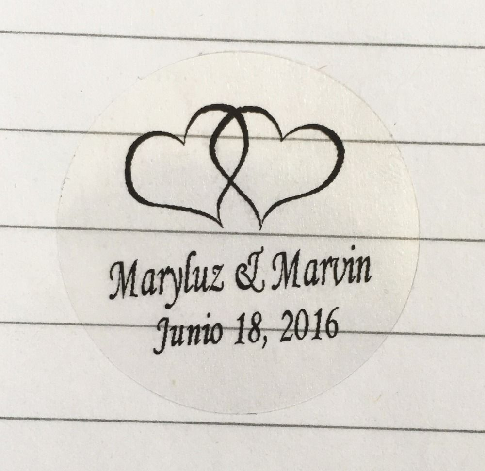 wedding engagement decoration 90pcs Custom personalized double heart Waterproof envelop sticker bride and groom name Labels