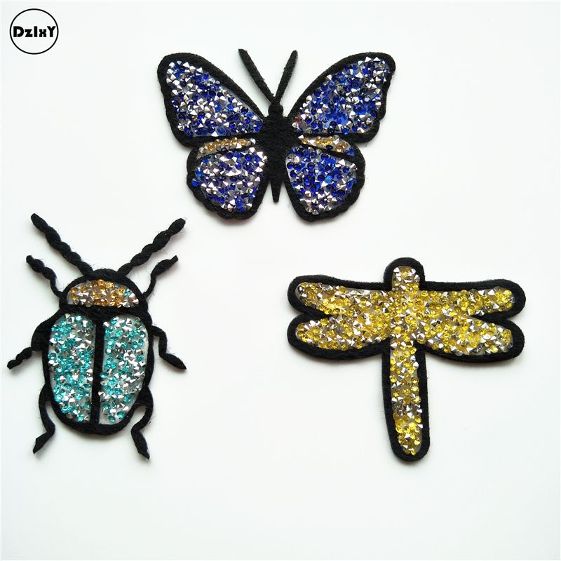 1 Pcs Butterfly Animals Sequins Rhinestone Clothes Embroidered Iron on Patches for Clothing DIY Stripes Motif parches @RR