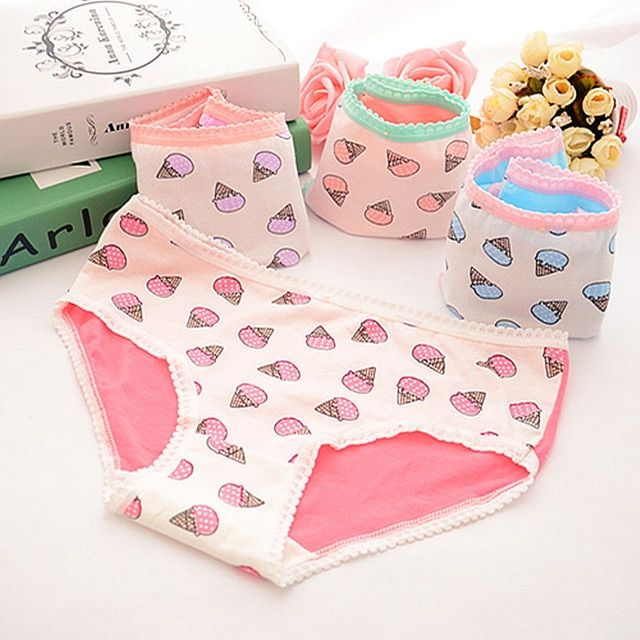2016 Hot Sell Women Sexy Briefs Underwear Ice Cream Cute Intimates Seamless Knickers Panties Breathable Lingerie Underpants
