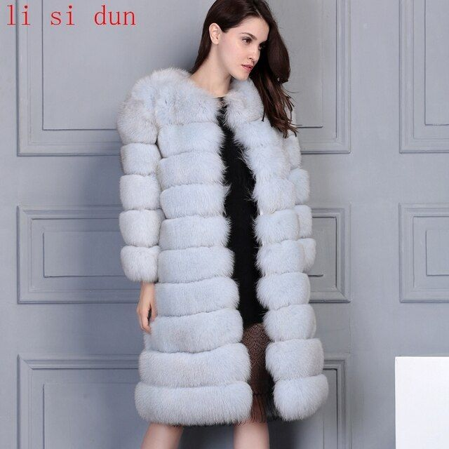 2017 li si dun natural fox fur coat Luxury  fur garment Women's warm fur jacket long Natural blue fox color Beige  plus size dhl