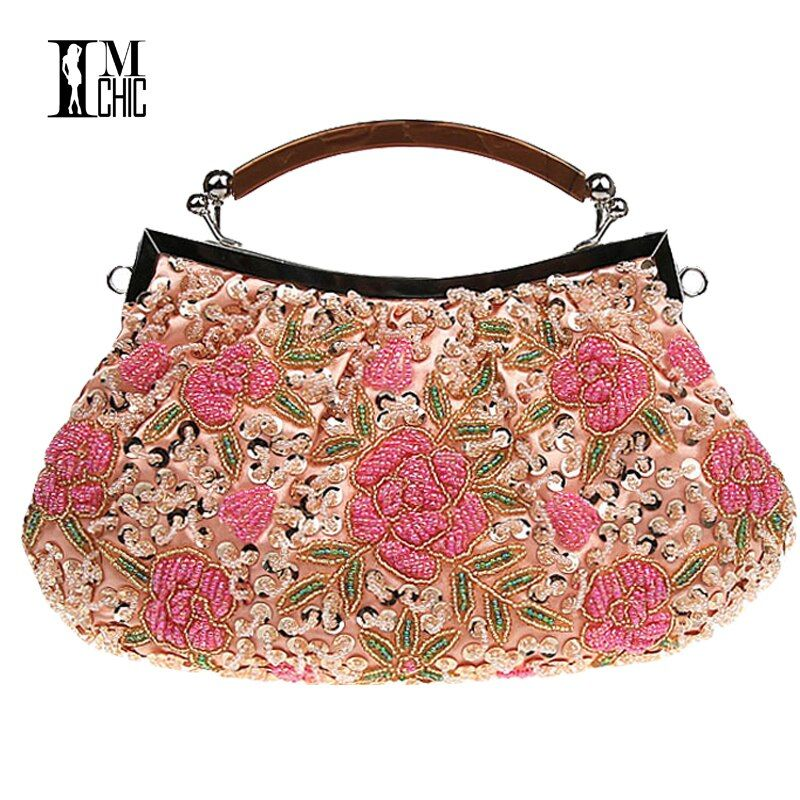 Embroidery Beaded Women Clutch Bag Vintage Flower Sequins Evening Party Handbags Wedding Bridal Tote Bags Handmade Women Bag