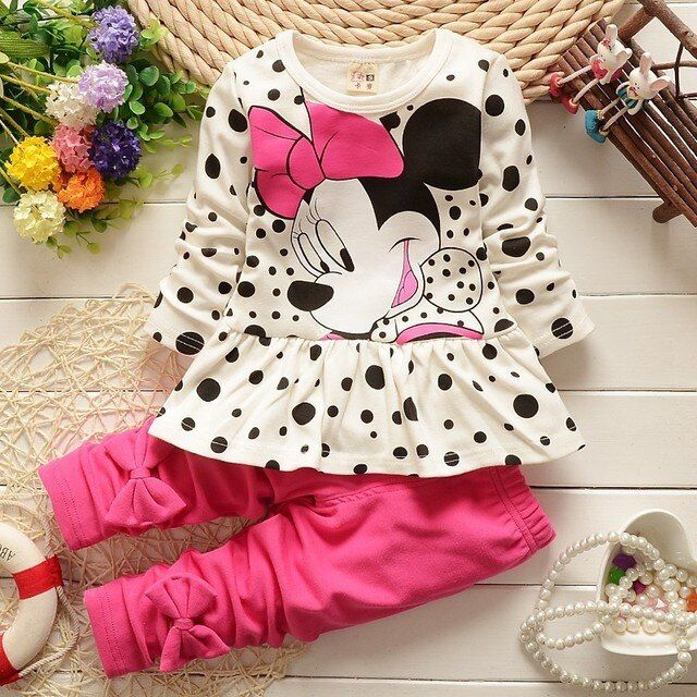 2018 New T - Shirt Pants Suit To Damine Girl's Dress To Make Baby Cotton 2 Pieces / Lounge Long Sleeved T-shirts