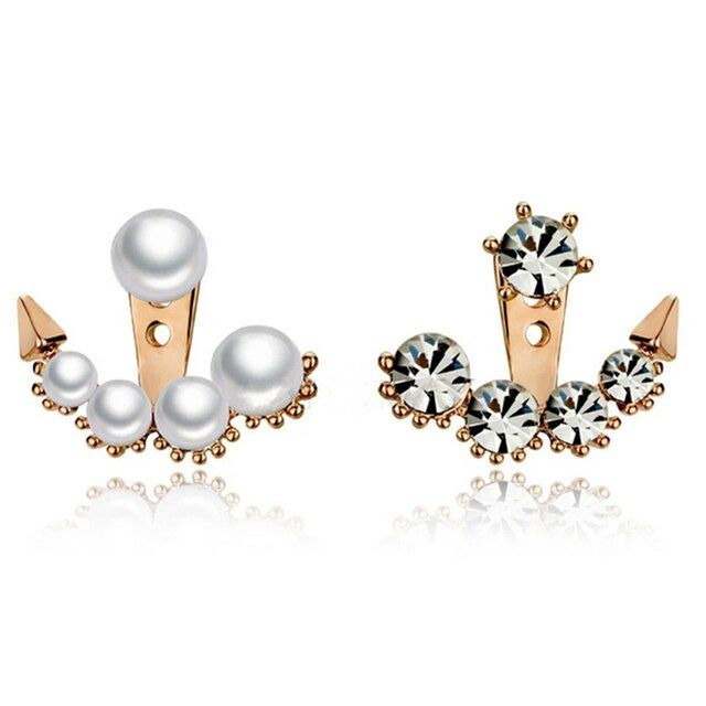 QCOOLJLY 1 Pair New Crystal Rhinestone Ear Stud Earrings beauty of television dramas with Sarah seul set auger Pearl Earrings