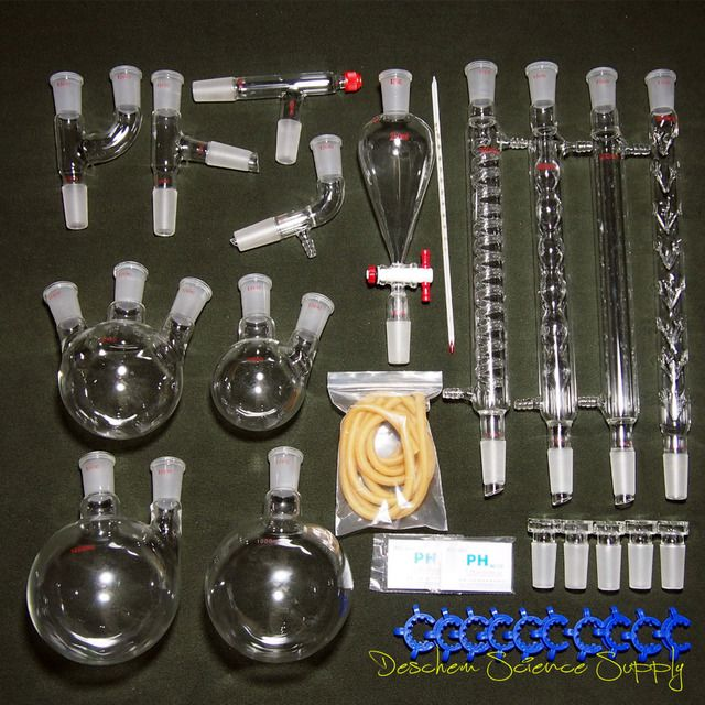 24/40,New Organic Chemistry Laboratory Glassware Kit,32 PCS,Lab Chemilcal Unit
