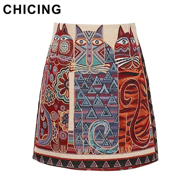 CHICING Boho Vintage Folk Owl Cat Printed Mini Skirts Women 2017 A-Line Ladies Basic Skirt Casual Skirt Saias Femininas A1608039