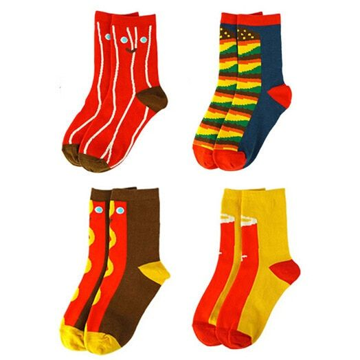 20Pairs/Lot New personality female women socks restaurant food cartoon cotton socks hot