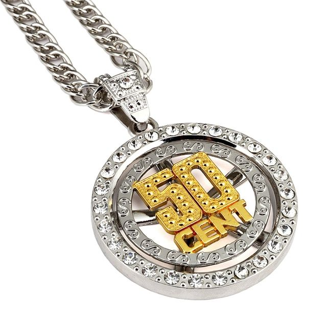 NYUKI Hip Hop Men's Jewelry Spin 50 Cent Pendant Necklace With 80cm Zinc Alloy Fashion Unique Personalized For Men Women Gift
