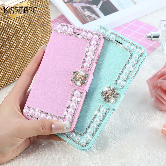 KISSCASE Luxury Pearl Diamond Cute Leather Case For iPhone 6 6s 7 8 Plus 5S SE For iPhone 8 7 6 5s 5 Case Wallet Phone Bag Cover