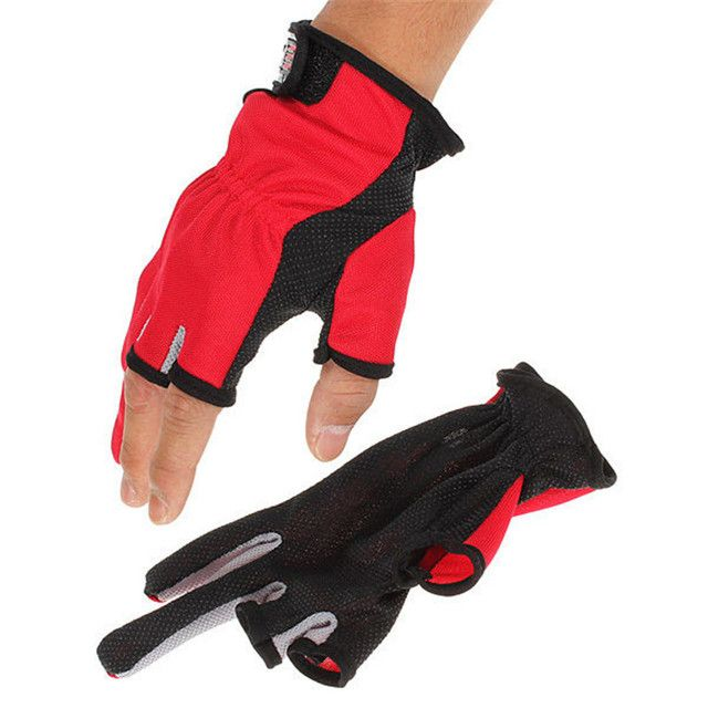 Good deal one pair ANTI-SLIP 3 Low Fingers Cut Fishing Gloves one size adjustable cm protection Multicolor Cool