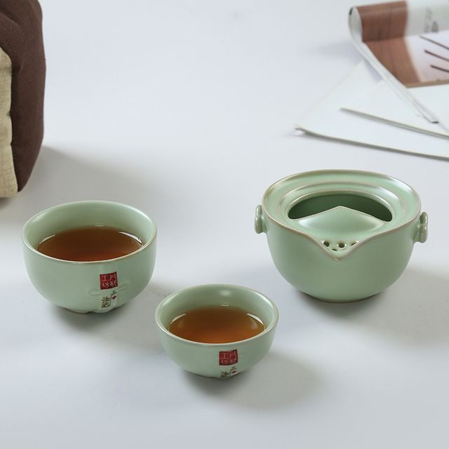 Quik Cup Opening Film Ru Travel Portable Kung Fu Tea Pot Two Cups Tea Sets Japanese-Style Suits, Free Shipping!