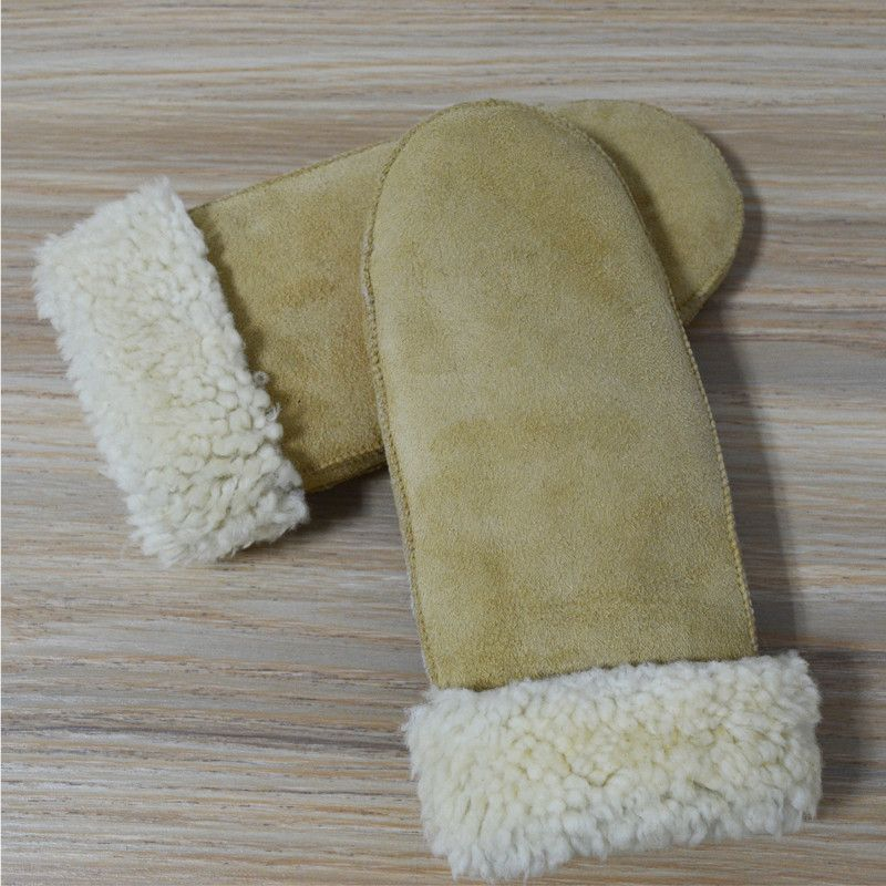 Winter Gloves Genuine Leather Mittens Women Sheepskin Gloves Ladies Fingerless Gloves Warm Female Mittens Winter Gloves