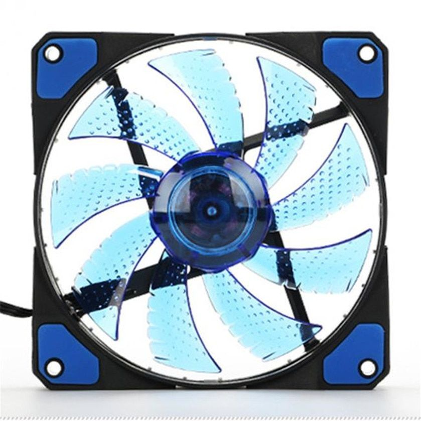 Best price 15 LED Light Quite 120mm DC 12V 4Pin PC Computer Case Cooling Cool Fan Mod