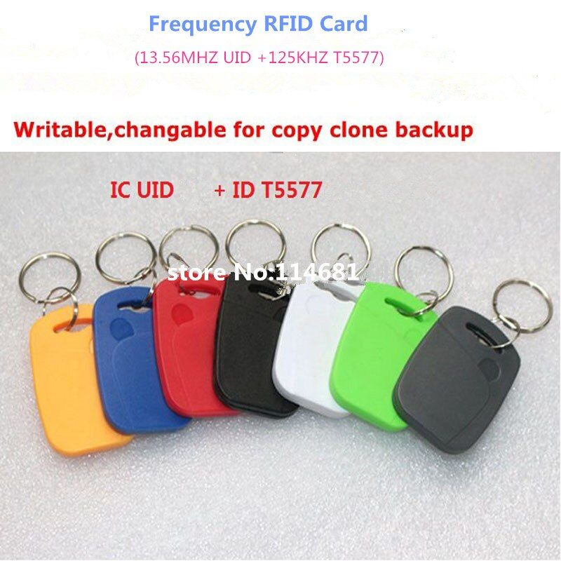 UID+T5577 RFID copy writable key tags 125khz &13.56mhz  Rewitable card reader IC+ID Writable Composite Key Tags