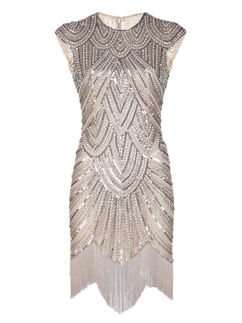 Vintage Inspired 1920s Gastby Handmade Crystals Sequined Embellished Fringed Flapper Party Dress