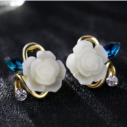 Korean Style Rose Flower Earrings For Women Fashion Gold-color Crystal Rhinestone Stud Earring Jewelry Brincos