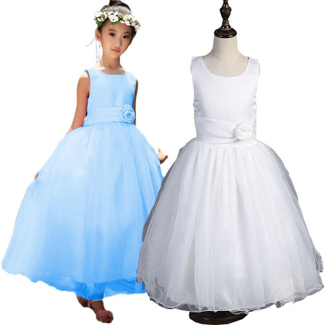 New  Kids Wedding Dresses Formal Ball Gown Girls  Party Dress Bruidsmeisjes Jurk Kids  Girl Dress 6WD 035