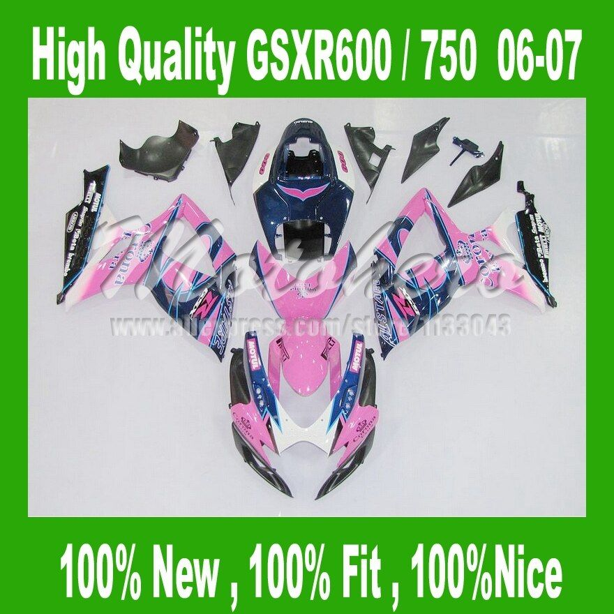 100%NEW Fairings for SUZUKI GSXR 600 06 07 GSXR 750 06 07 GSX-R600 GSX-R750 2006 2007 purple blue black fairing kits #12avv