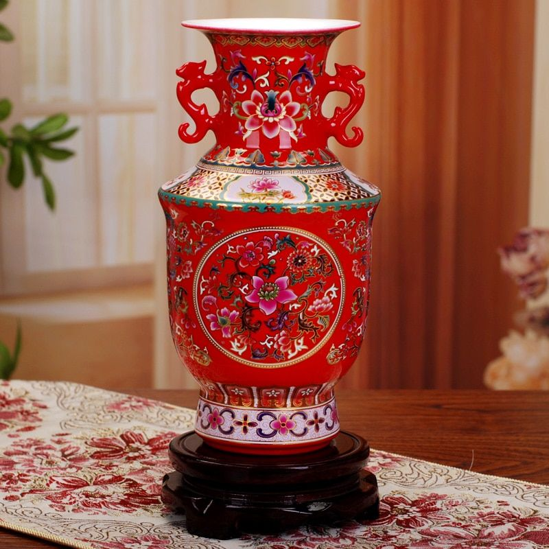 Jingdezhen Antique Ancient Enamel Ceramic Flower Vase Decorative Vases Home Modern Wedding Decoration Vase