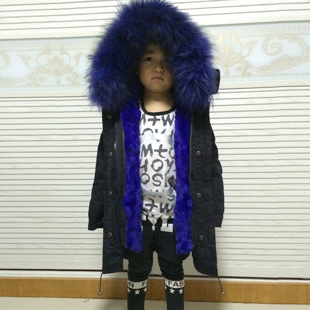 little girl/boy fur parka kids real fur coat genuine fur outwear