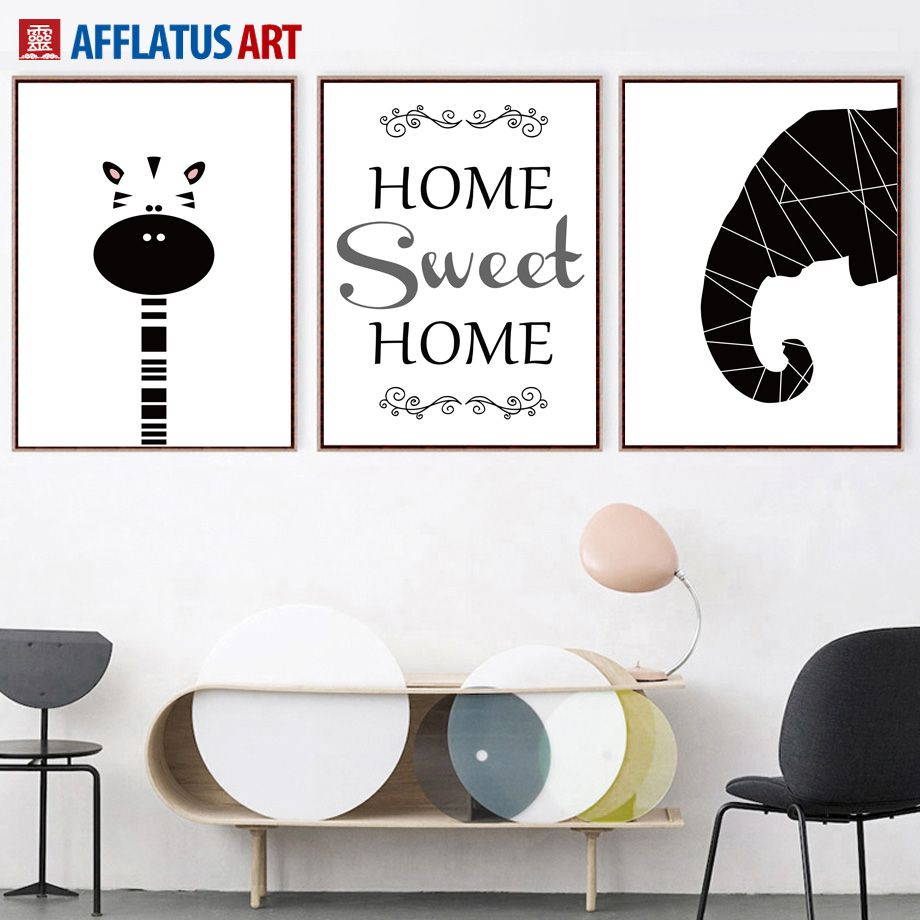 Cartoon Geometry Elephant Giraffe Quotes Wall Art Canvas Posters And Prints Canvas Painting Wall Pictures Kids Room Home Decor