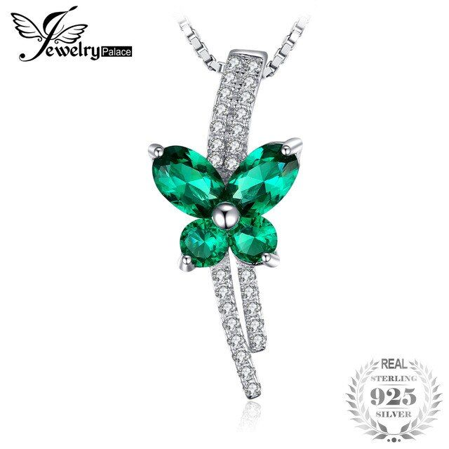 JewelryPalace Butterfly 1.3ct Created Emerald Pendant 925 Sterling Silver Jewelry for Women Unique Gift Not Include The Chain