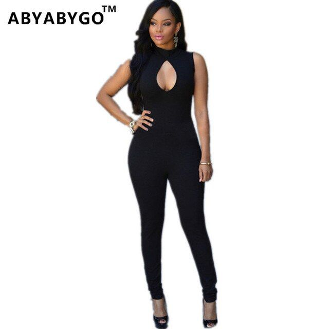 ABYABYGO  Rompers Womens Jumpsuit Sexy Black Sleeveless Bodycon Overalls For Women Outfits Playsuit Clubwear Bodysuit Dungarees