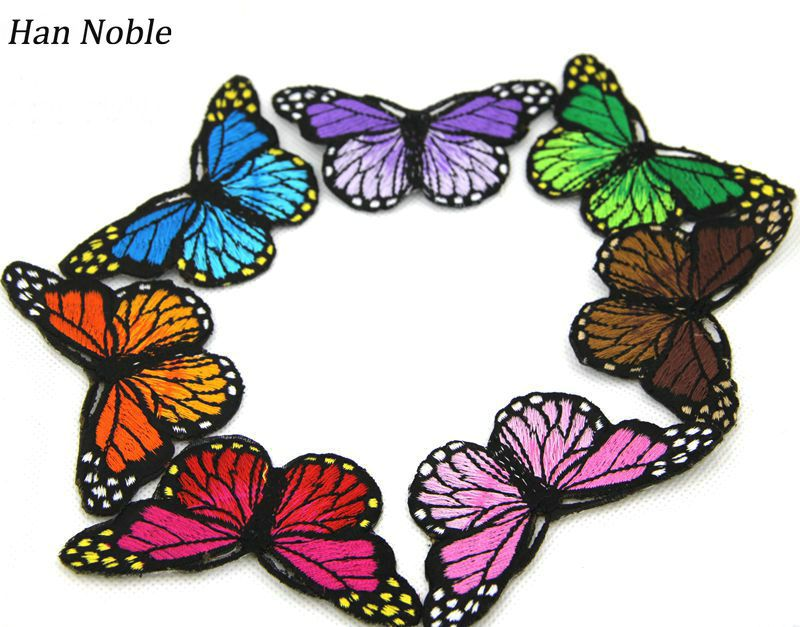 Han Noble Blue Pink Red Purple Orange Green Butterfly iron on Patches para la ropa for clothing applique embroidery parches P001