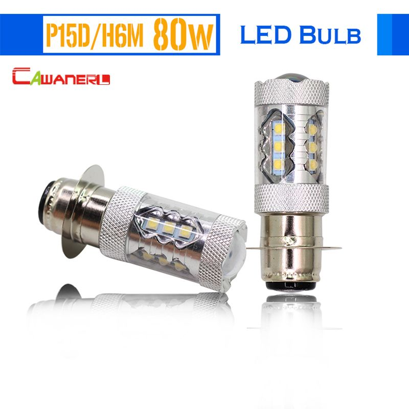 Cawanerl 2 Pieces H6M P15D 80W Motorcycle LED Bulb 1800LM White 6000K Motorbike Headlight Fog Light Daytime Running Light DRL