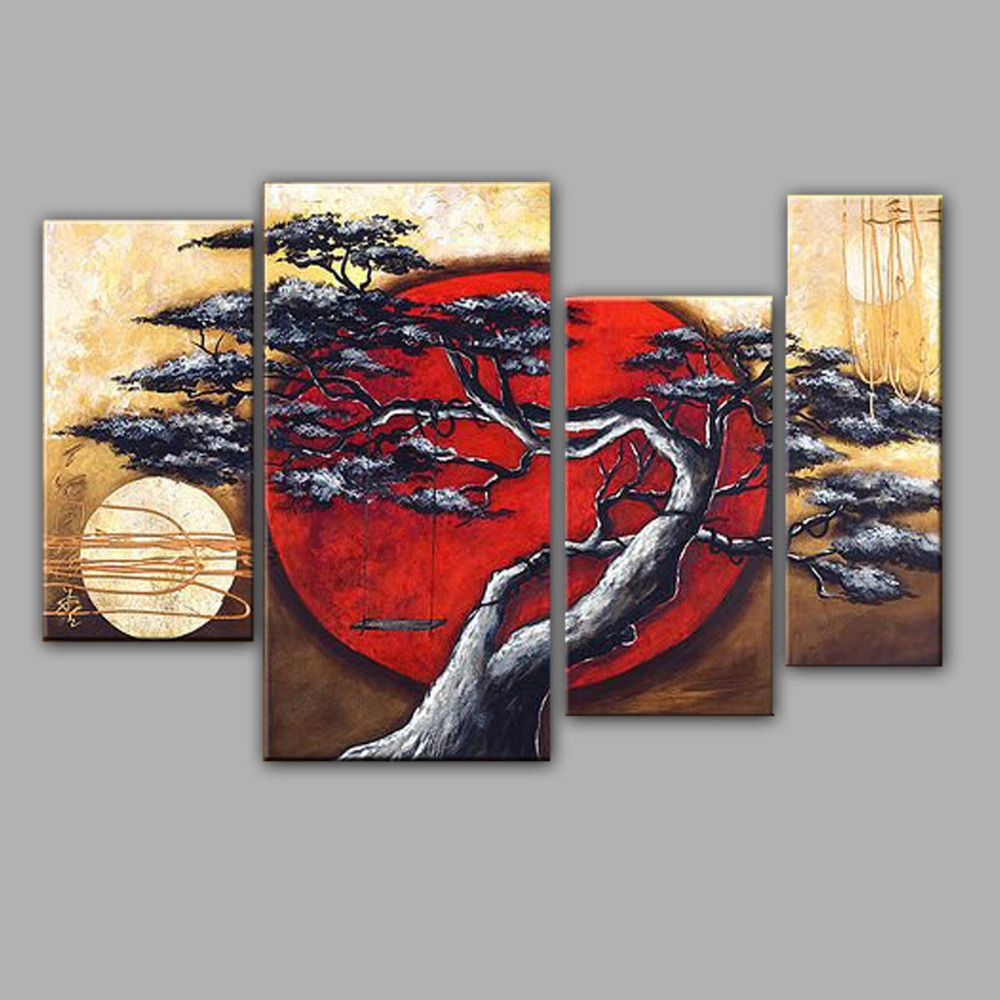 Pine Tree And Moon Landscape Oil Painting Handmade Style
