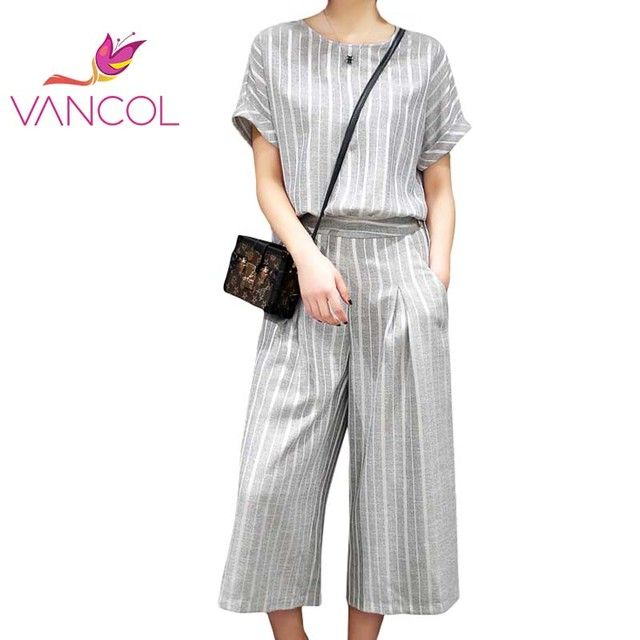 Vancol 2016 Elegant Slim Suit for Lady Office Clothes Wide Leg Pants Black Grey Striped Women Summer Two Piece Set Top and Pants