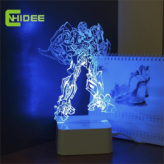 CNHIDEE 3D Night Light Lamp for Bumblebee Micro USB Touch Controller Base led Touch Light as Lampara Infantil
