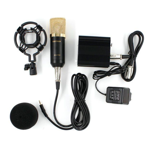 KEBTYVOR BM-700 Wired Mic Condensador bm700 Microphone with shock mount + nb-35 + Pop Filter + sound card + 48v phantom power