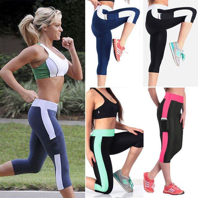 Women's Yoga Leggings Compression Pants Women Cropped Sports Leggings Yoga Capri Running Sport Pants High Waist Tight Fitness