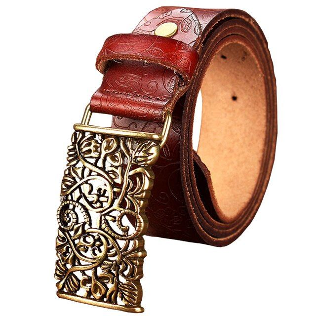 New Fashion Cow Genuine leather belt woman Vintage floral metal buckle Wide belts for women Top quality strap for female jeans