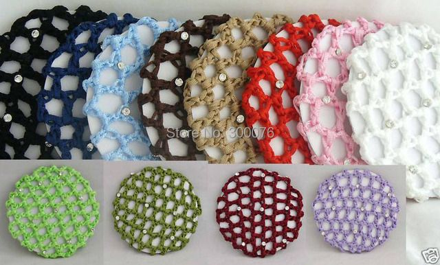 crochet hair snood bun cover hairnet Ballet Dance Skating Mesh Bun Cover with rhinestone
