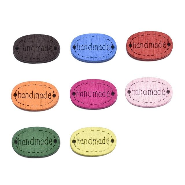 Free Shipping 200Pcs Mixed Oval Handmade 2 Holes Wood Sewing Buttons Flatback Scrapbook 19x12mm