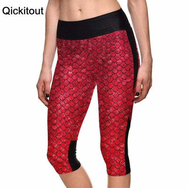 Plus size Sexy Women's 7 point pants women legging Red mermaids scales digital print women high waist Side pocket phone pant