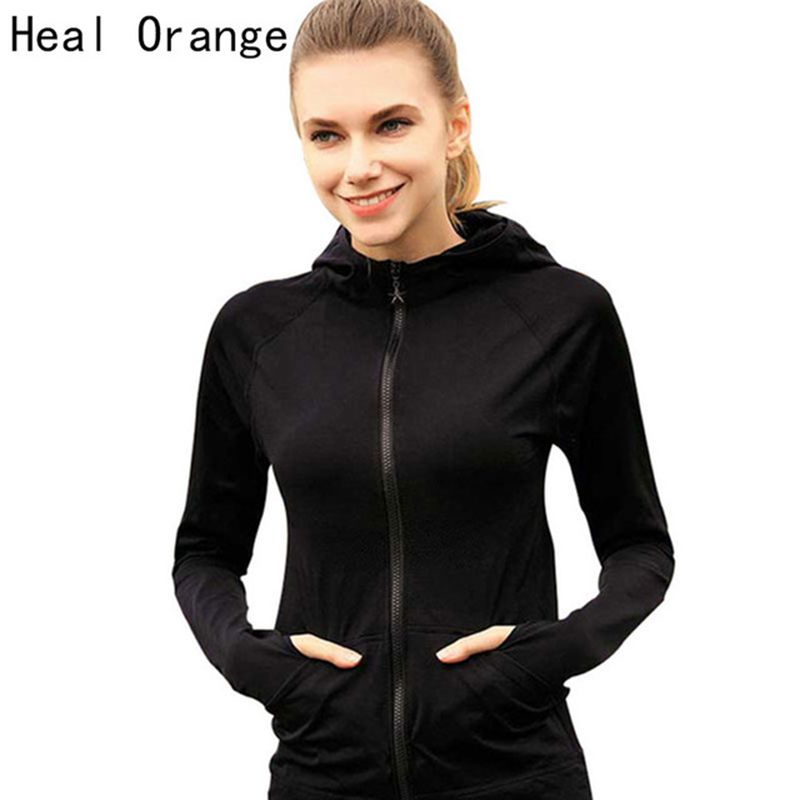 Heal Orange Running Jacket For Women Yoga Zipper Long Sleeve Women Sport Jacket Fitness Ladies Hoodies Sports Women's Clothing