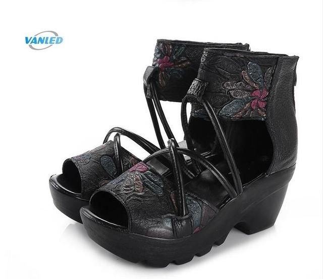 New fish mouth sexy women shoes summer sandals 2018 summer Cross belt genuine leather shoes woman wedges sandals fashion shoes