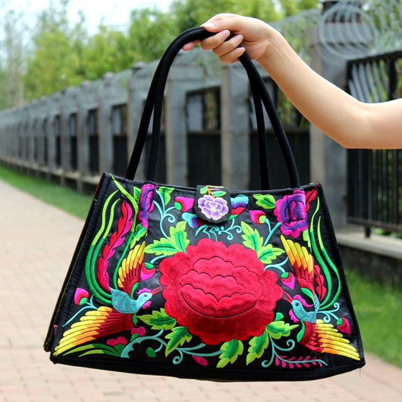 New Style Big Size Canvas Women Shoulder Bag Embroidery Flower High Quality Woman Totes Bags Handbag Bag Women