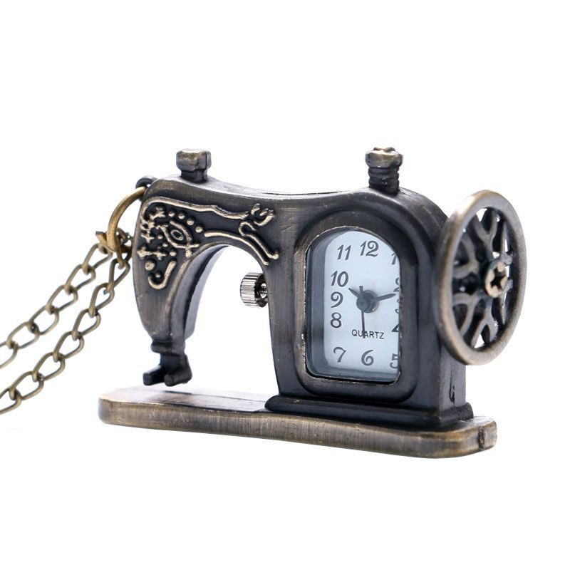 Sewing Machine Design Pocket Watch With Necklace Chain Free Shipping Best Gift To Men Women Children
