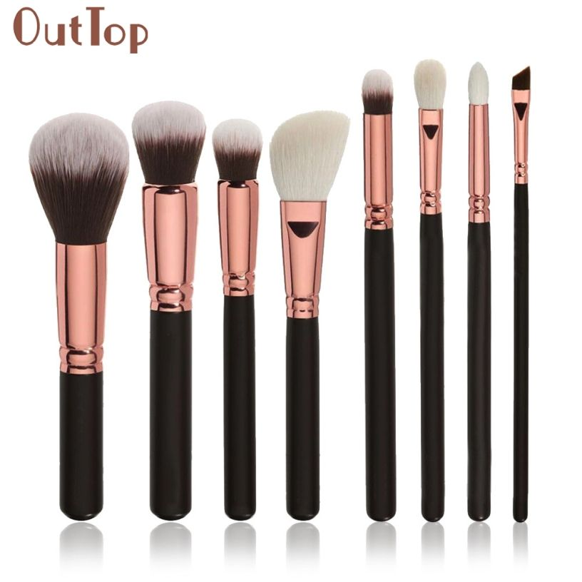 Best Deal Makeup Brushes 8Pcs Natural Hair Cosmetics Set Wooden handle high quality make up brush set