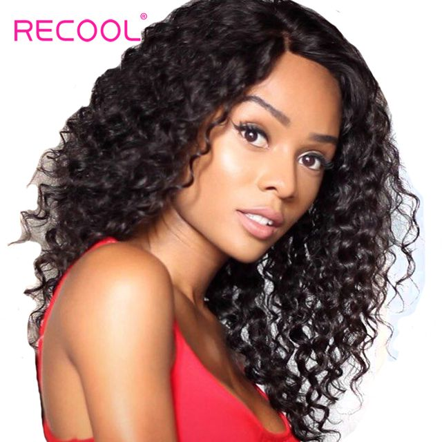 Recool Peruvian Deep Wave Bundles Natural Black Color 100% Remy Human Hair Weave 10-28 Inch Black Women Hair Bundle Extensions