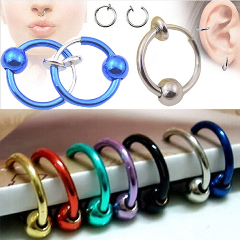 1pcs Colorful Fake Nose Ring Lip Ear Nose Clip On Fake Piercing Nose Lip Hoop Rings Earrings Golden Rose Ball body jewelry