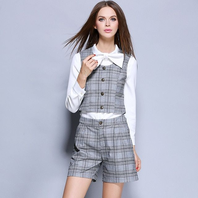 2016 Autumn new fashion commuter ol vest hotel clothes shirt shorts 3 piece Women Clothing Set 1691
